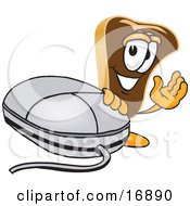 Clipart Picture Of A Meat Beef Steak Mascot Cartoon Character Waving And Standing By A Computer Mouse