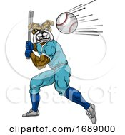 Bulldog Baseball Player Mascot Swinging Bat