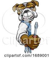 Poster, Art Print Of Bulldog Electrician Handyman Holding Screwdriver