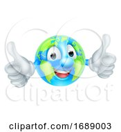 Poster, Art Print Of Earth Day Mascot World Globe Cartoon Character