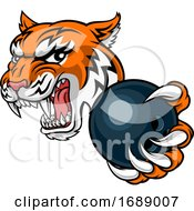 Tiger Bowling Player Animal Sports Mascot