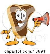 Meat Beef Steak Mascot Cartoon Character Preparing To Make An Announcement With A Red Megaphone Bullhorn