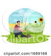 Poster, Art Print Of Farmer Planting A Tree