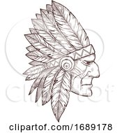 Poster, Art Print Of Sketched Native American