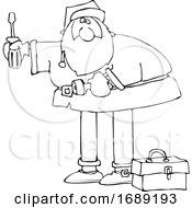 Cartoon Santa Using Tools