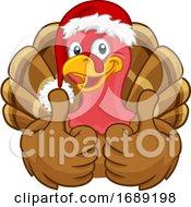 Poster, Art Print Of Turkey In Santa Hat Christmas Thanksgiving Cartoon