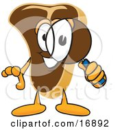 Clipart Picture Of A Meat Beef Steak Mascot Cartoon Character Looking Through A Magnifying Glass