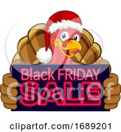 Black Friday Sale Turkey In Santa Hat Cartoon