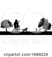 Poster, Art Print Of People Enjoying The Park Silhouettes