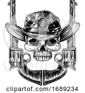 Skull In Cowboy Hat With Sheriff Star And Pistols