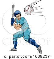 Baseball Player Swinging Bat At Ball For Home Run by AtStockIllustration