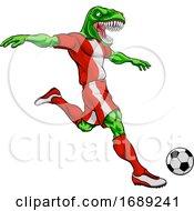 Poster, Art Print Of Dinosaur Soccer Football Player Sports Mascot