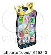 Mobile Phone King Crown Cartoon Mascot