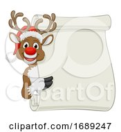 Santa Hat Reindeer Christmas Scroll Sign Cartoon
