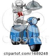 Rhino Chef Scooter Mascot Cartoon Character