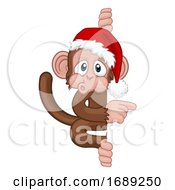 Poster, Art Print Of Christmas Monkey Cartoon Character In Santa Hat