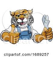 Poster, Art Print Of Wildcat Plumber Or Mechanic Holding Spanner