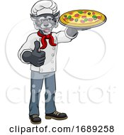 Wolf Pizza Chef Cartoon Restaurant Mascot