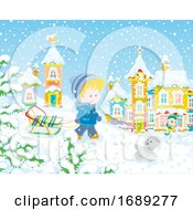 Poster, Art Print Of Boy Pulling A Sled In The Snow