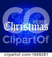 Christmas Decorative Text On Textured Blue Background