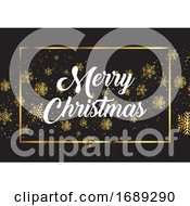 Christmas Background With Gold Snowflakes And Decorative Text