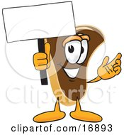 Clipart Picture Of A Meat Beef Steak Mascot Cartoon Character Waving A Blank White Advertising Sign