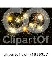 Golden Fireworks Display Background