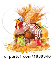 Poster, Art Print Of Thanksgiving Turkey Bird With A Cornucopia