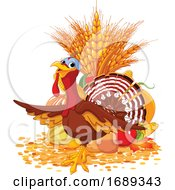Poster, Art Print Of Thanksgiving Turkey Bird With Harvest Foods
