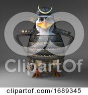 Poster, Art Print Of Casual 3d Samurai Penguin Warrior With Hands On Hips 3d Illustration