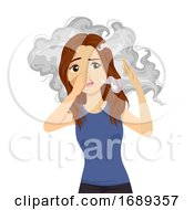 Teen Girl Passive Smoking Illustration