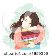 Poster, Art Print Of Teen Girl Hug Books Illustration