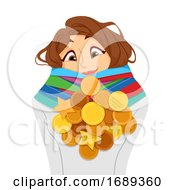 Teen Girl Achiever Medals Illustration