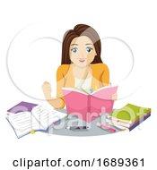 Poster, Art Print Of Teen Girl Determined Study Illustration