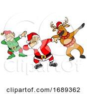 Cartoon Christmas Elf And Reindeer Dabbing With Santa