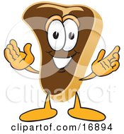 Poster, Art Print Of Meat Beef Steak Mascot Cartoon Character Welcoming With Open Arms