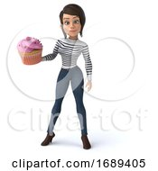 Poster, Art Print Of 3d Breton Woman On A White Background