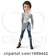 3d Breton Woman On A White Background