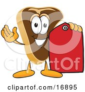 Meat Beef Steak Mascot Cartoon Character Holding A Blank Red Sales Price Tag