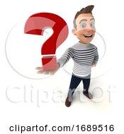 3d Breton Man On A White Background