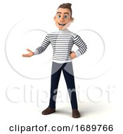 3d Breton Man On A White Background