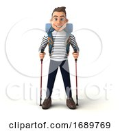 3d Breton Man Hiker On A White Background
