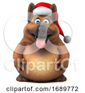 3d Christmas German Shepherd Dog On A White Background