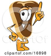 Clipart Picture Of A Meat Beef Steak Mascot Cartoon Character Pointing Upwards by Toons4Biz