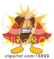 Clipart Picture Of A Meat Beef Steak Mascot Cartoon Character In A Super Hero Cape And Mask by Toons4Biz
