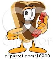 Clipart Picture Of A Meat Beef Steak Mascot Cartoon Character Holding And Pointing To A Red Phone by Toons4Biz