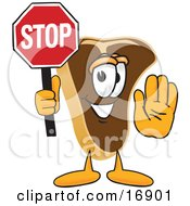Meat Beef Steak Mascot Cartoon Character Holding A Stop Sign