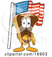 Meat Beef Steak Mascot Cartoon Character Pledging Allegiance To The American Flag