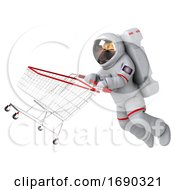Poster, Art Print Of 3d Cosmonaut On A White Background