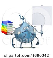 Poster, Art Print Of 3d Blue Germ Virus On A White Background